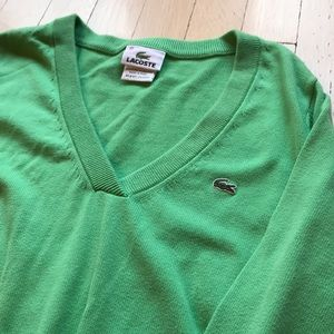 Lacoste Green V Neck Sweater M